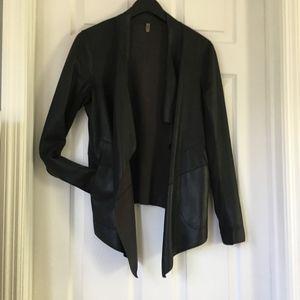 Mackage Black lamb leather draped Jacket